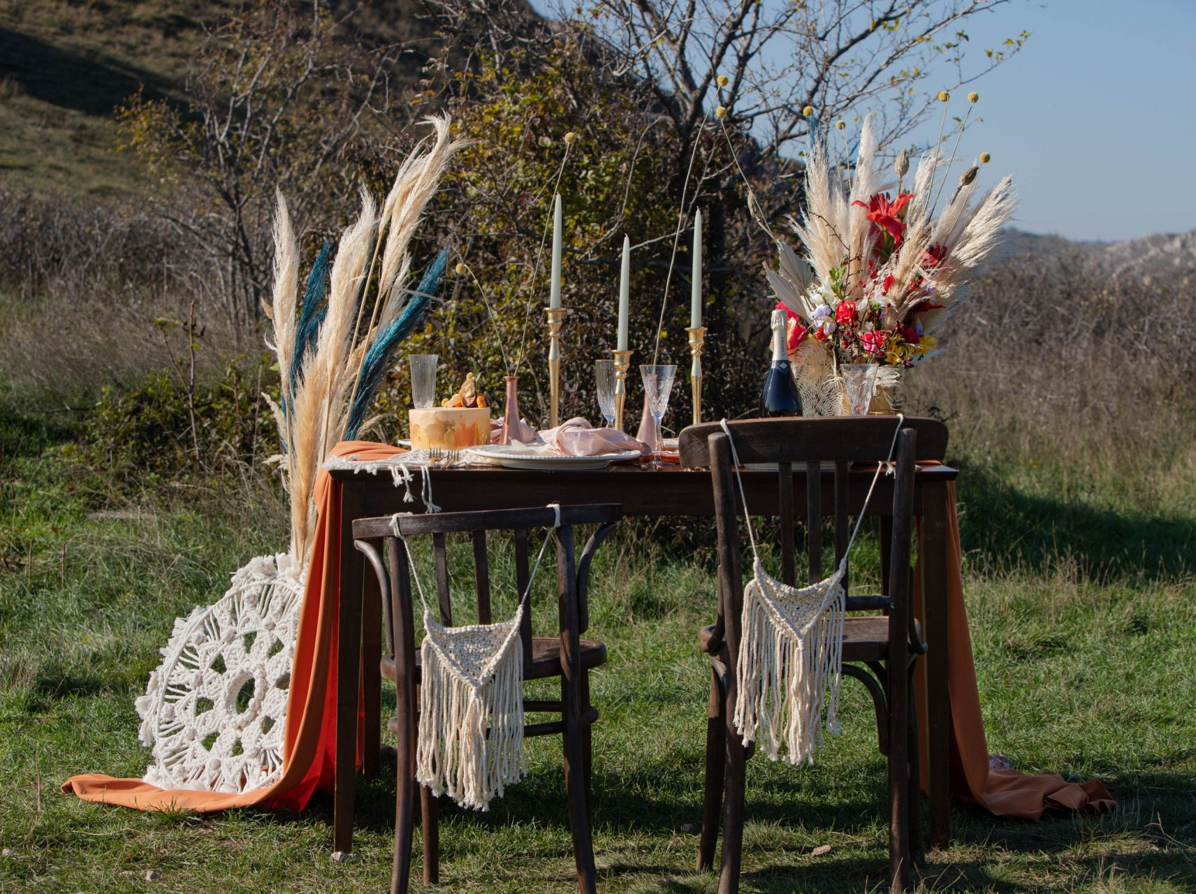 őszi esküvő makramé pampafű szabadtéri esküvő dekoráció-MISS LULLI Decor